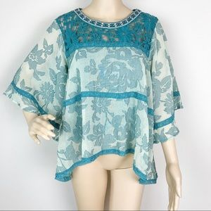 Esley Teal Floral Crochet Embroidered Boho Top